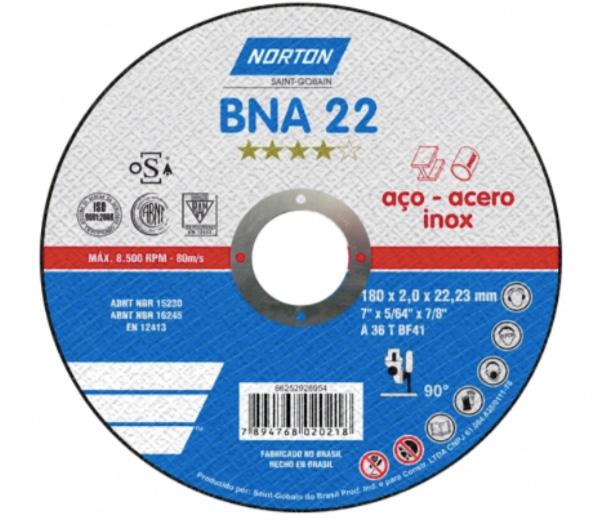 Disco de Corte para Aço e Inox Norton BNA 22