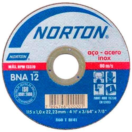 Disco de Corte para Aço e Inox Norton BNA 12