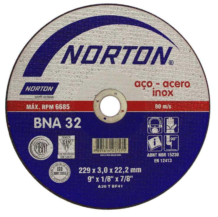 Disco de Corte para Aço e Inox Norton BNA 32