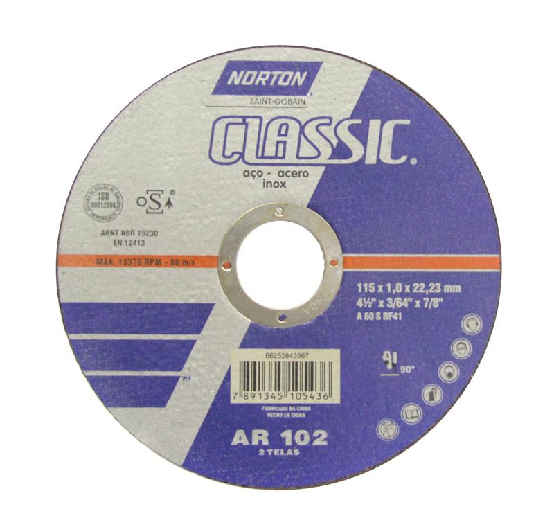 Disco de Corte para Aço e Inox Classic Norton AR102