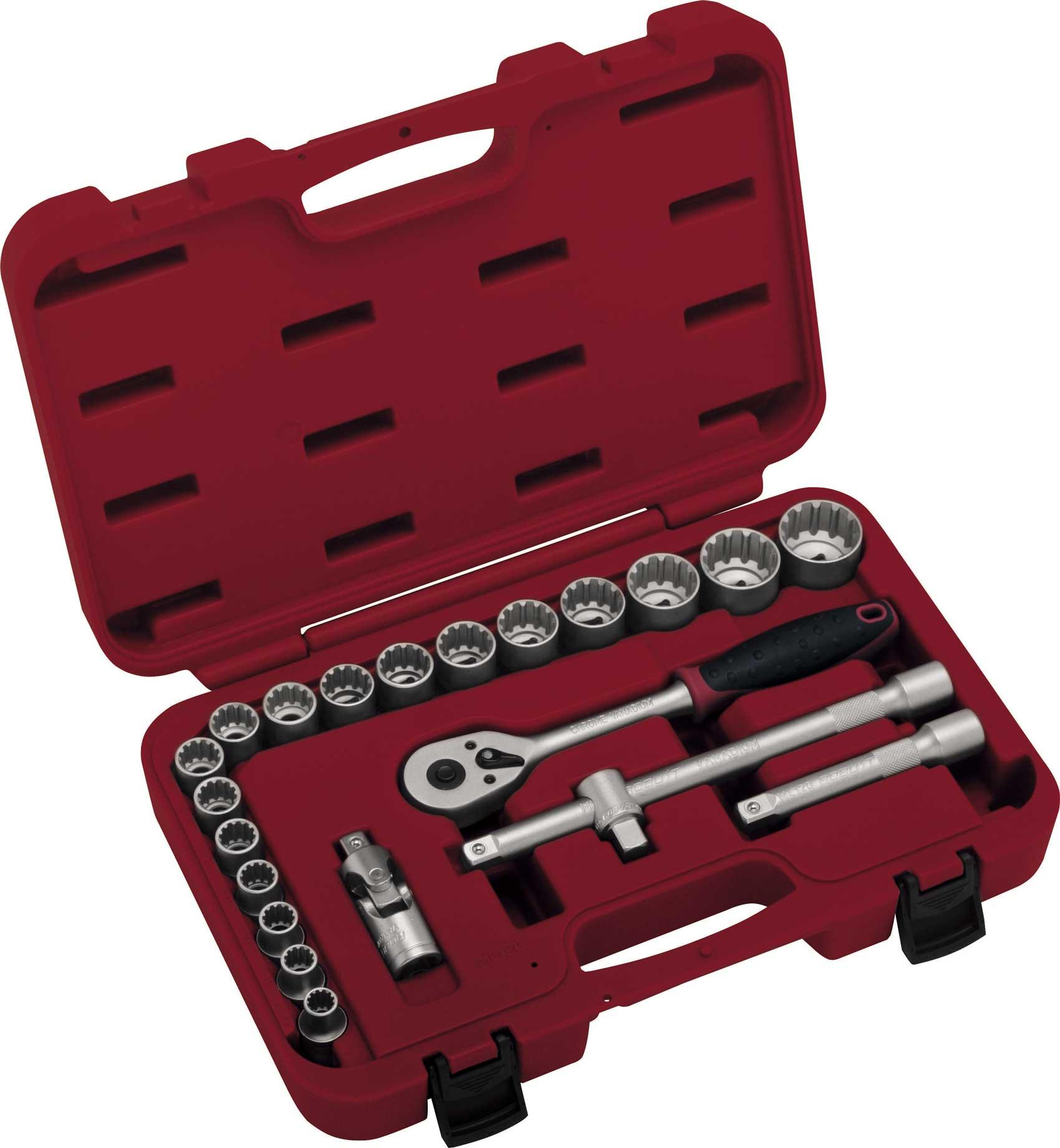 Jogo de Soquetes Multi Lock com 22 Peças e Encaixe de 1/2 Pol
